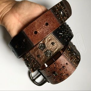 Fossil Midnight Leather Studded Patchwork Belt